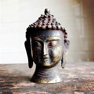 佛像收藏 铜鎏金佛头