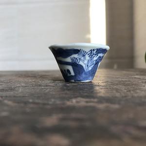 清 青花山水人物马蹄杯