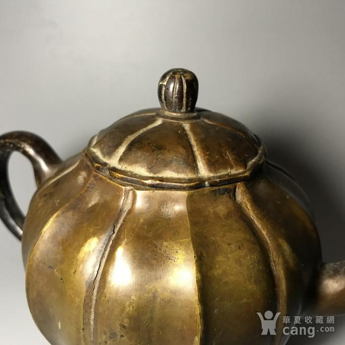 清 瓜棱形铜壶一把图6