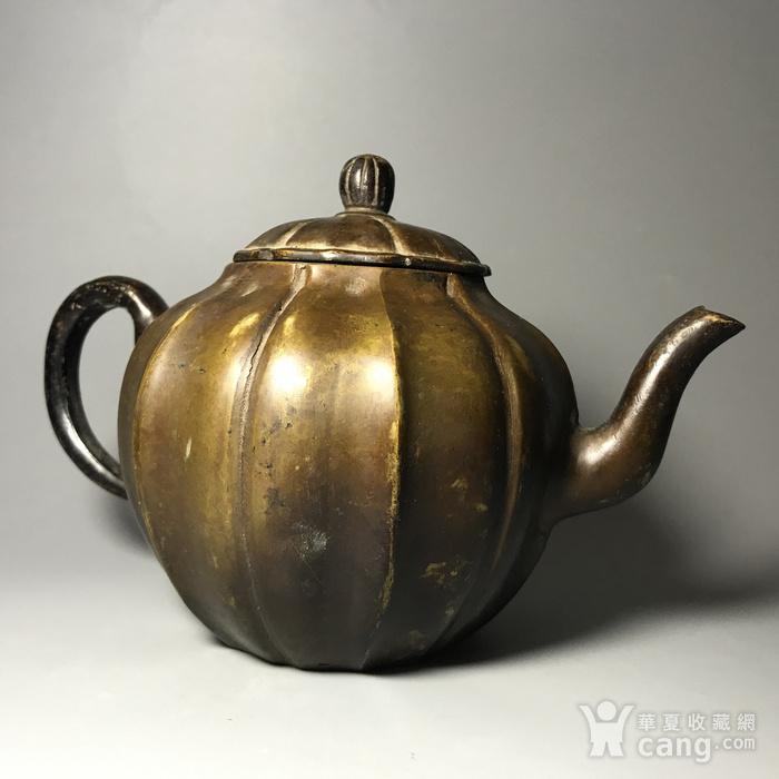 清 瓜棱形铜壶一把图7