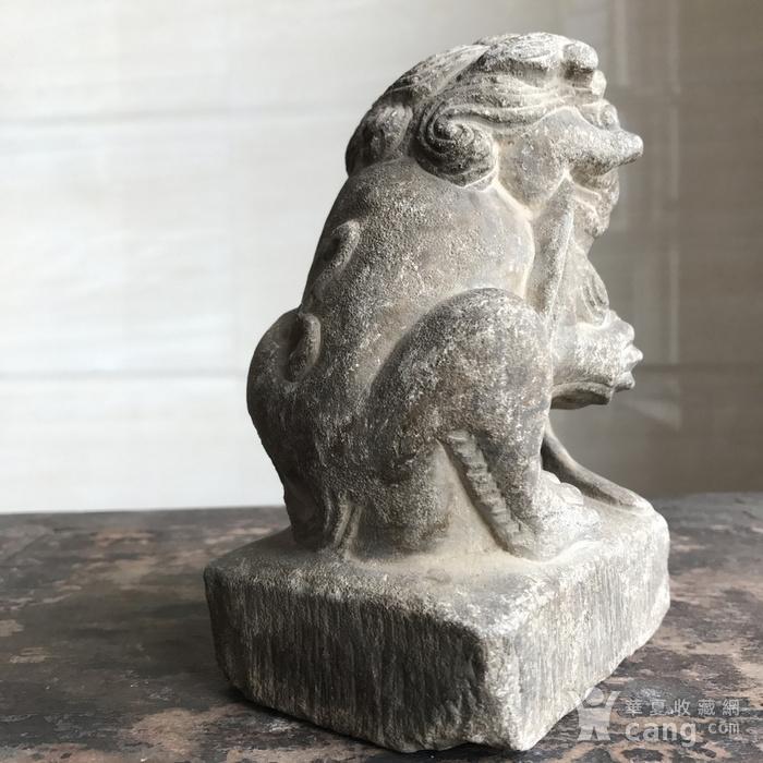 清 精品收藏级石雕 青石案头狮图3