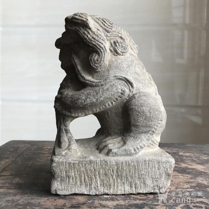 清 精品收藏级石雕 青石案头狮图7