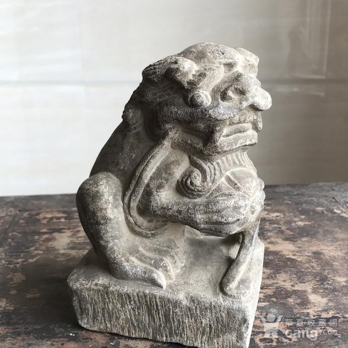 清 精品收藏级石雕 青石案头狮图11
