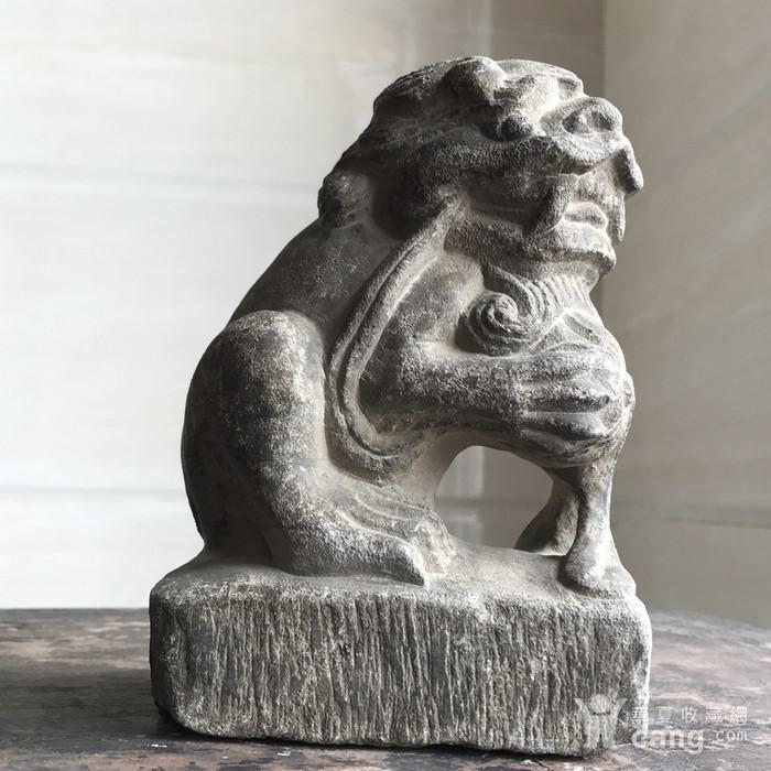 清 精品收藏级石雕 青石案头狮图12