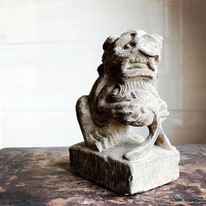 清 精品收藏级石雕 青石案头狮