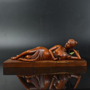 联盟 鸿福斋包邮黄杨木精品浮雕美女醉卧摆件