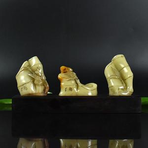 联盟 鸿福斋包邮寿山石精品浮雕节节高套印