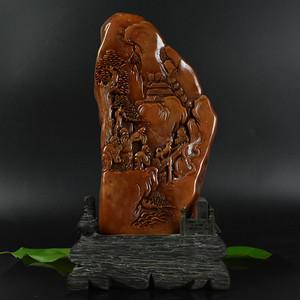 联盟 鸿福斋包邮寿山石原石浮雕老人风景摆件
