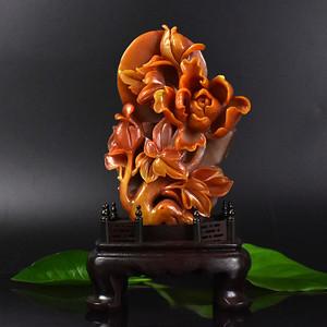 联盟 齐天阁寿山石原石浮雕花开富贵摆件