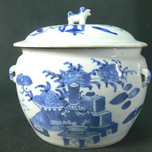清代中期清供青花大盖罐