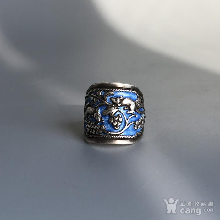 民国 纯银烧蓝老银戒指一枚图2