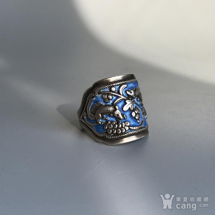 民国 纯银烧蓝老银戒指一枚图3