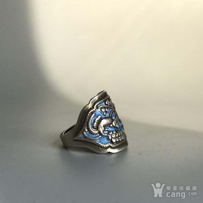 民国 纯银烧蓝老银戒指一枚图4