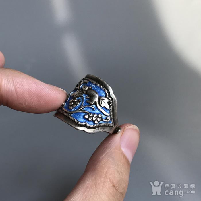 民国 纯银烧蓝老银戒指一枚图5