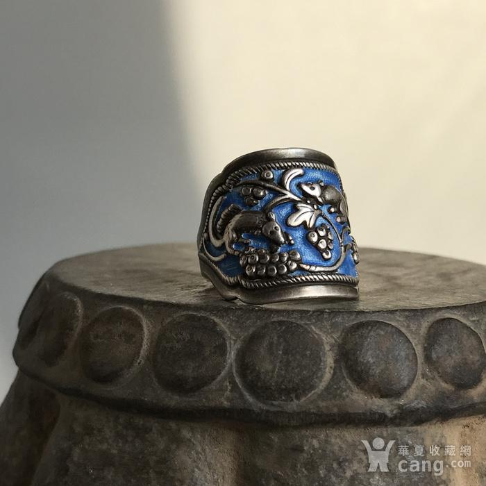 民国 纯银烧蓝老银戒指一枚图6