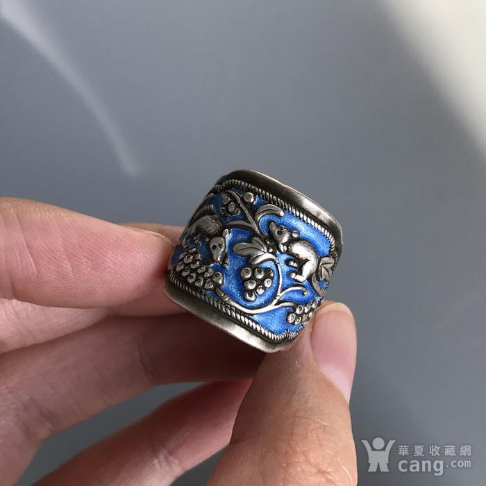 民国 纯银烧蓝老银戒指一枚图7