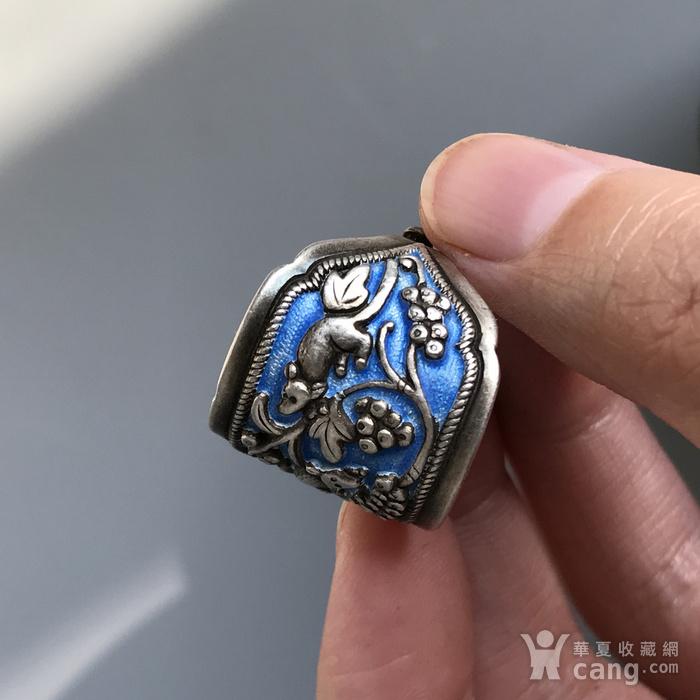 民国 纯银烧蓝老银戒指一枚图8