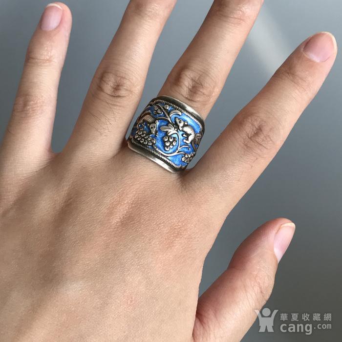 民国 纯银烧蓝老银戒指一枚图9