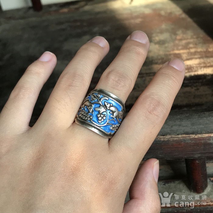 民国 纯银烧蓝老银戒指一枚图10