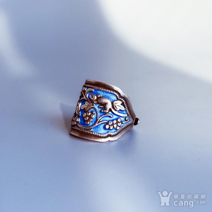 民国 纯银烧蓝老银戒指一枚图1