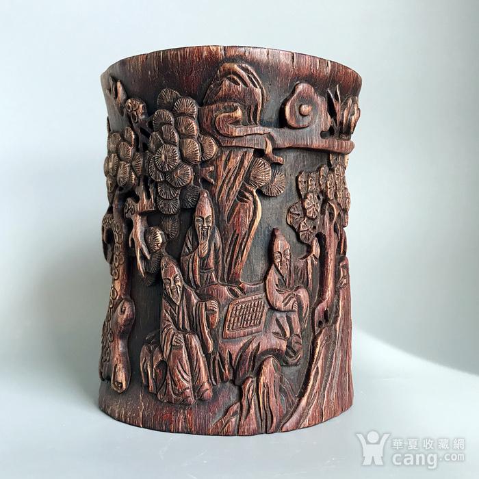 清 精品 木雕笔筒一件图2