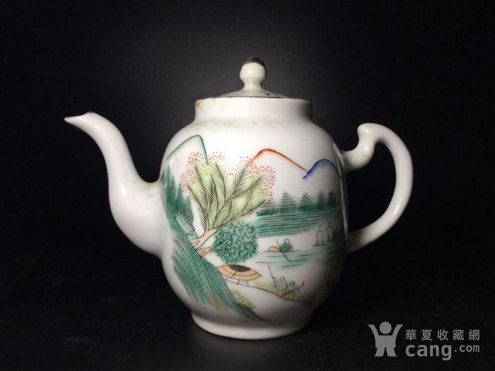 民国 浅绛彩细瓷茶壶一把图1