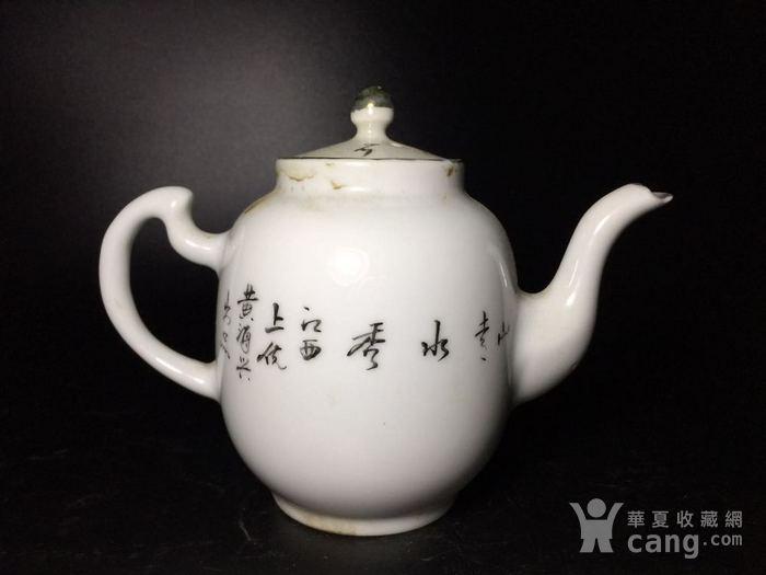 民国 浅绛彩细瓷茶壶一把图8