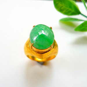 自然光实拍!天然A货翡翠满绿托铜戒指