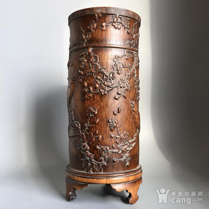 精品收藏级 清代竹雕帽筒图5