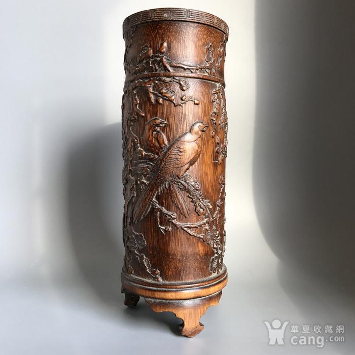 精品收藏级 清代竹雕帽筒图7