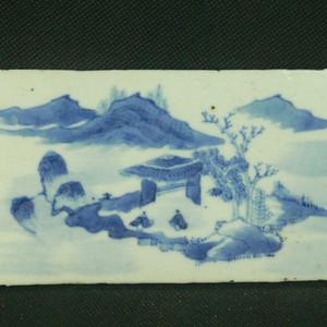 清代山水楼阁瓷板