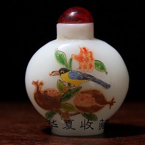 清末回流底款古月轩老琉璃浮雕花鸟鼻烟壶摆件