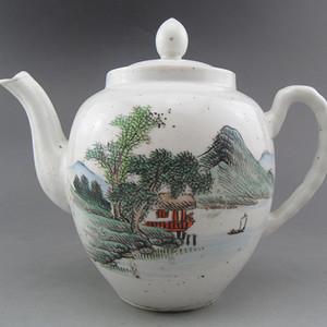 114.民国 浅降彩山水茶壶