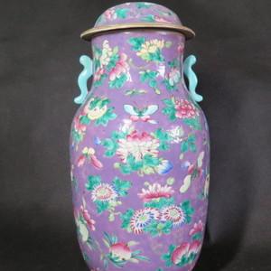 清代36cm和和美美百花粉彩盖罐
