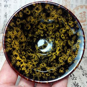 德化瓷黄色窑变釉建盏茶盏!漂亮精品!