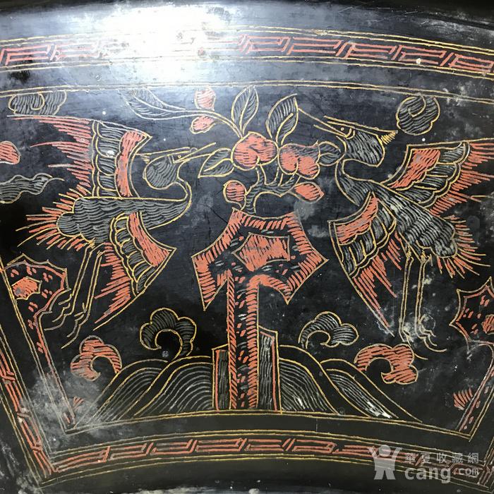 清代黑大漆描金彩绘扇形茶盘图2