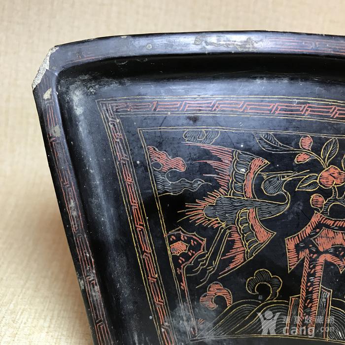 清代黑大漆描金彩绘扇形茶盘图4