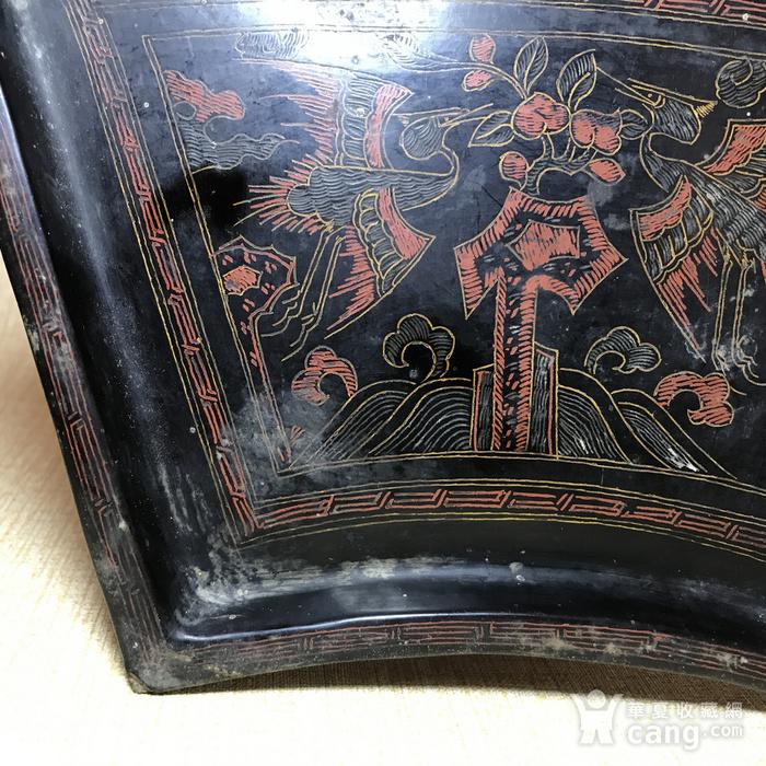 清代黑大漆描金彩绘扇形茶盘图5