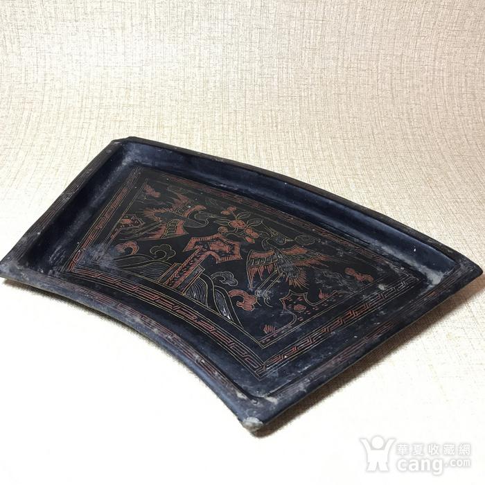 清代黑大漆描金彩绘扇形茶盘图6