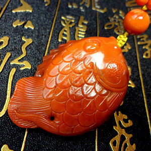 精品 南红柿子红玛瑙精雕富贵有鱼饱满大吊坠挂件!