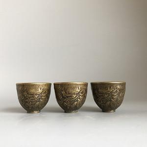 清代铜质龙纹小酒盅一套