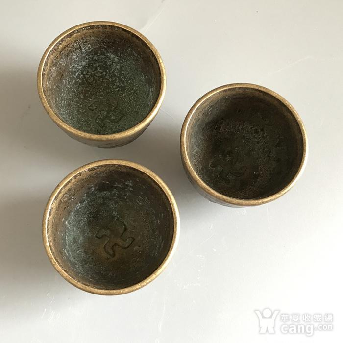 清代铜质龙纹小酒盅一套图7