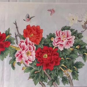 中央美院凌雪老师四尺整纸工笔画作品《富贵图》 尺寸138x68