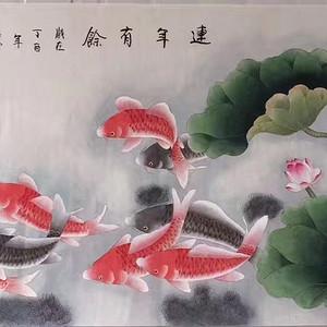中央美院凌雪老师四尺整纸工笔画作品《连年有余》 尺寸138x68