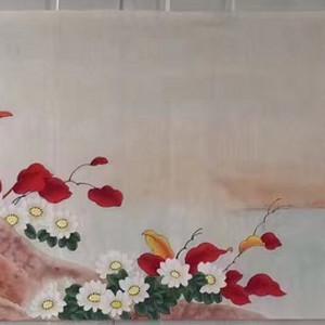 中央美院凌雪老师四尺整纸工笔画作品《鸿雁传情》 尺寸170x46