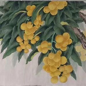 中央美院凌雪老师四尺整纸工笔画作品《硕果累累》 尺寸170x46六尺对
