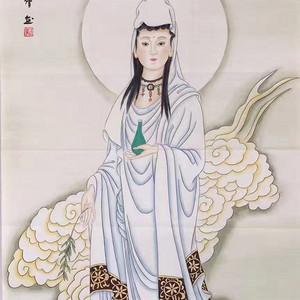 知名女画家武倩四尺整纸工笔画138x68