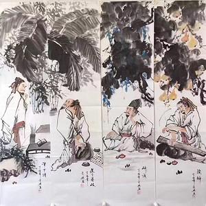 画家何奕兴四条屏138x34x4