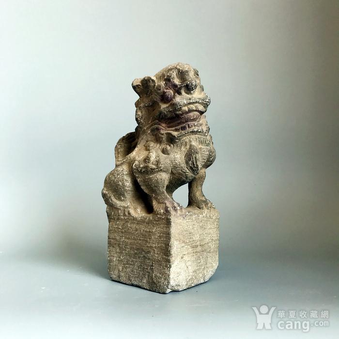 精品重器 收藏级古石雕 清代案头石狮一只图10