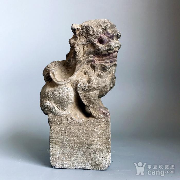 精品重器 收藏级古石雕 清代案头石狮一只图3